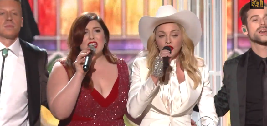 "Macklemore & Ryan Lewis, Mary Lambert & Madonna performing"".""same love"".""grammy's 2014""."