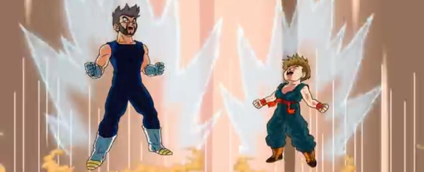 Vater macht aus sich und seinem Sohn Dragonball Helden