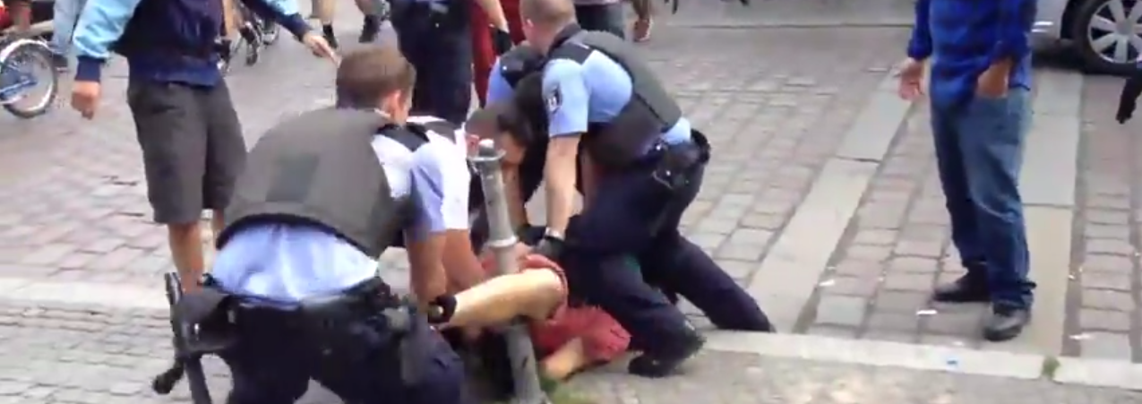 brutaler Polizeiübergriff, 5. Juli 2014, Berlin Kreuzberg